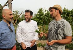 Anthony Genovese and Andrea Mattei with Borgo's vegetable and herb gardener, Davide Ricci.