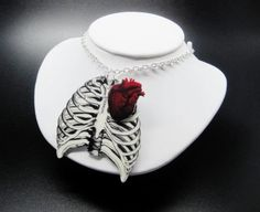 Anatomical Rib Cage Necklace Anatomical Heart by TheSpangledMaker
