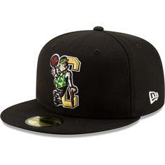 pre order 6e23a 4e1de Men s Boston Celtics New Era Black Team Logo Back Half Series 59FIFTY  Fitted Hat,