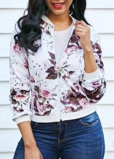 Long Sleeve Flower Print Zipper Up White Jacket on sale only US$34.78 now, buy cheap Long Sleeve Flower Print Zipper Up White Jacket at liligal.com
