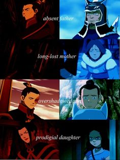 parallel<< except Sokka and Katara's father is good, Katara is NOT evil like Azula, and I don't think Sokka struggled with the whole honor thing