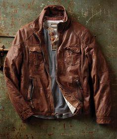 FAVORITE    Effortlessly Cool Men's Jacket - Zamora Leather Jacket - Carbon2Cobalt    LARGE