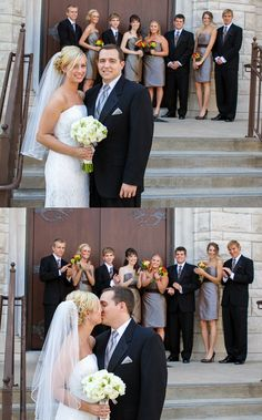 I like this idea except to have the family in the background since our wedding party is so small