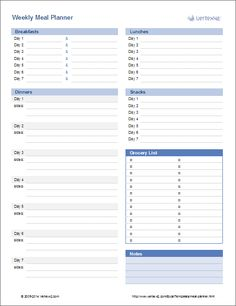 Download a printable menu planner or use a weekly or monthly meal planner template to quickly plan your family or school meals.