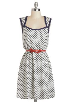 Signature Skating Song Dress - Grey, Blue, Stripes, Belted, Casual, A-line, Cap Sleeves, Mid-length, Cutout, Nautical, Cotton