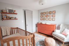 Nursery ideas: design by Echo Artistry. Copper and Peach Nursery. Baby girl's room with woodland theme. Moroccan pouf, beige rocker, DIY shelves, shelf styling, wood wall art, copper, peach and neutrals.