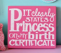 Pink Baby Boutique - Princess Birth Certificate Small Panel Wall Decor, $45.00 (http://www.pinkbabyboutique.com/princess-birth-certificate-small-panel-wall-decor/)