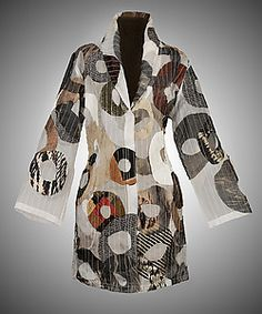 Michael Kane - White Mosaic Circles Riding Coat applique fabric circles? - Sharon - this is what I'm talking about.....see the collar, and with a little more shape and a little fuller around the hip (so it sashays right), this can be a stunning TNT (tried n true) pattern for you.