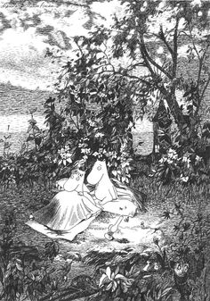 Moomin by Tove Jansson Farlig midsommar moomin, nature Moomin Valley, Tove Jansson, Drawn Art, The Draw, Black And White Illustration, Children's Book Illustration, Les Oeuvres, Illustrators, Drawings