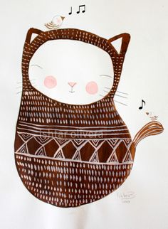 Illustration by Ishtar olivera Cute Illustration, Graphic Design Illustration, Crazy Cat Lady, Crazy Cats, Here Kitty Kitty, Hello Kitty, Art Mignon, I Love Cats, Cat Art