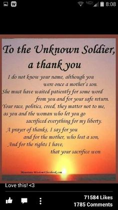 Thank you unknown Soldiers