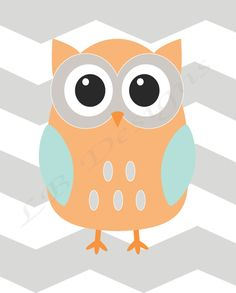 Gray Orange and Aqua Chevron Owl Nursery Print  8x10 by LJBrodock, $8.00