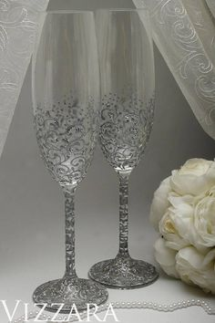 Welcome! Glad to see you in a wedding shop! Champagne flutes - gray with Silver The set includes two glasses with hand painted and decor. ♥ ABOUT toasting flutes: Production: Czech Republic Brand: Bohemia Material: Glass Capacity: 220ml Height of glasses: 25cm (9.8 in) ♥ I can ADD