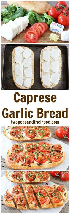 Caprese Garlic Bread Recipe on twopeasandtheirpo... This is the BEST garlic bread recipe and it\'s so easy to make. If you like caprese salad and garlic bread, you will LOVE this one!