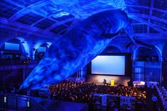 For the August 4 premiere of James Cameron's Deepsea Challenge 3D documentary at the American Museum of Natural History, Tyger Productions, at the behest of event sponsor (and long-time client) Rolex, treated guests to a unique 3-D cinematic experience. The event took up about 9,000 square feet of space in the Milstein Hall of Ocean Life, under the iconic 94-foot blue whale.  Photo: Courtesy of Tyger Productions