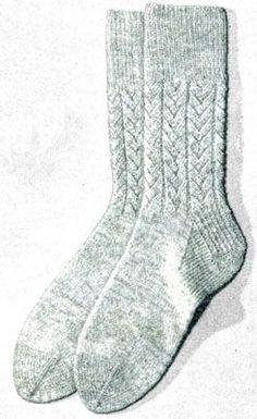 NEW! Herringbone Socks knit pattern from New Sock Fashions in Wool, Volume 69, from 1949.