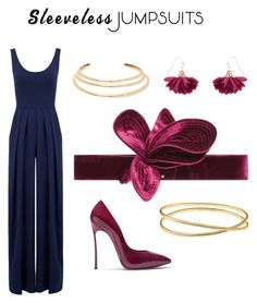 """jumpsuit with a splash of red"" by jenniferguerra93 ❤ liked on Polyvore featuring Nadia Tarr, Casadei, Johanna Ortiz, Accessorize, Maison Margiela, Kenneth Jay Lane and sleevelessjumpsuits"