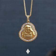 Solid 18K Yellow Gold Micro Laughing Buddha Piece With VS+ Diamond Border. Custom made to order  #Buddha #CustomJewelry #IFANDCO