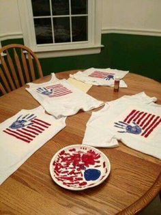 DIY patriotic shirts paint and handprint July 4th