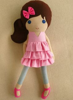 Reserved for Rachel - Fabric Doll Rag Doll Brown Haired Girl in Pink Ruffled Dress and Gray Leggings