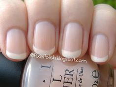 American manicure.  Thats OPI Passion, which is pretty on its own, paired with Sinful Colors Nail Art polish in Bad Chick just over the tips.  These nails have a softer shape,  which I also like