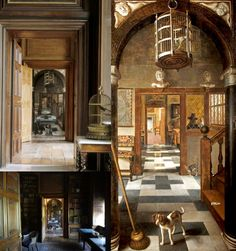 """View through a House"""", 1662, Samuel van Hoogstraten, The owners hung it in their house in such a way that the perspective lines of the painting converge with those of the architecture, creating a remarkably convincing illusion of three dimensionality. The painting depicted the hallway of Samuel Pepys."""