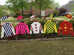 Derby Party Lawn Silks - Made  with foam board, paint, floral wire and corrugated sign stakes.  Find a pattern for the silks and hat, we measured all the lines in the pattern and enlarged them x 3.5. Drew the pattern on the foam board and used Xacto knife to cut them out. Draw designs and filled in with paint.  Bend stiff floral wire  in half and stick the folded in the foam of the collar letti the two ends stick out about 6 in.  Stick the two loose ends in the bottom of the hat to float…