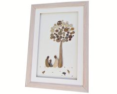 Family of three pebble art gift New home by PebbleArtDream on Etsy
