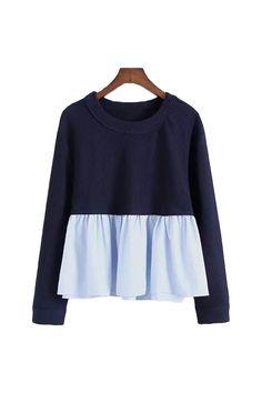 'Margaret' Mock Layer Navy Peplum Crewneck Sweater