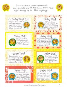 Printable Thanksgiving conversation cards