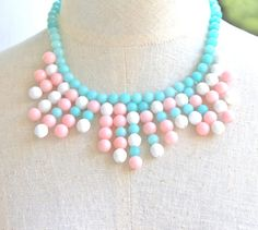 Pink  Blue White Jade Pastel Statement Necklace  by heathernn1, $79.00