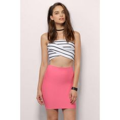 Tobi Back With A Vengeance Bandage Skirt (145 SAR) ❤ liked on Polyvore featuring skirts, mini skirts, pink, mini skirt, pink bandage skirt, bandage skirt, red mini skirt and pink skirt