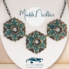 Click the image to get a free pattern for the Mandala necklace, featuring the new DiamonDuo bead.