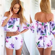purple floral two piece crop top and shorts set beautiful white and purple floral off the shoulder crop top and shorts two piece set   •size: small    •features: flowy light thin material, perfect for summer. top: off the shoulder with stretchy elastic at the top and crochet trim. shorts: elastic waistband with ties and crochet trim   •new never used  •no trades  ❗️❗️ NOT from listed brand (brand listed for visibility. real brand: Ashley's Boutique)   ❗️ if this item does not fit you CANNOT…
