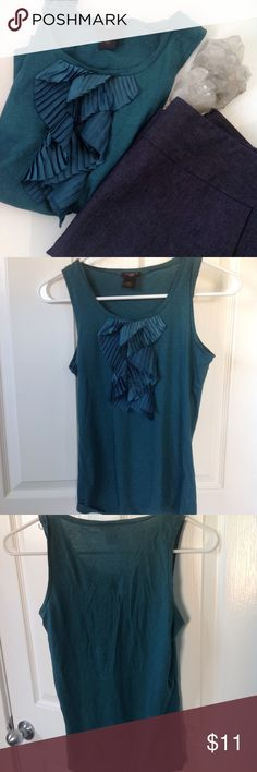 """Ann Taylor teal ruffle tank Soft sweet tank, with silk ruffle cascading down from neckline. Rich teal color. Measures 22"""" long, 15.5"""" bust, 13.5"""" waist. Ann Taylor Tops Tank Tops"""