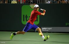 Kei Nishikori of Japan in action against Roberto Bautista Agut of Spain in their…