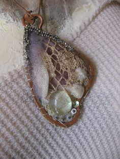 Butterfly Wing - Textile Art Pendant Necklace with Antique Lace, Vintage Fibers, Sequins and Beads