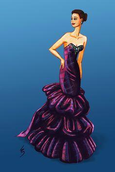 Lydia Snowden Illustration. Fashion illustration. Tartan evening gown.