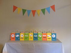 Little monster birthday party goodie bags