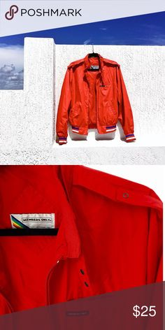 MEMBERS ONLY EURO BOMBER JACKET High quality bomber jacket with stripe detail. very clean and flattering, red draws the eye. members only Jackets & Coats Bomber & Varsity
