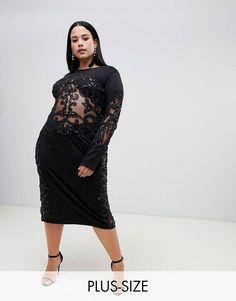 e00f7e8b6ba A Star Is Born Plus sheer embellished midi bodycon dress in black