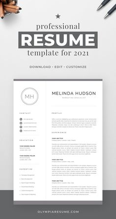 Professionally designed resume template that showcases your skills and experience in an elegant and effective way. The layout is optimized for building a resume that is informative, visually attractive and easy to navigate. The template package includes resume, cover letter and references templates in matching designs for creating a complete and consistent job application quickly and easily. Build your new resume now! #resume #resumetemplate #cv #cvtemplate #jobsearch #jobhunt #careeradvice Creative Cv Template, One Page Resume Template, Modern Resume Template, Cover Letter For Resume, Cover Letter Template, Letter Templates, Resume References, Microsoft Word 2007, Cv Design