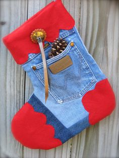 Cowboy Tough Distressed Wrangler Quilted Stocking  by ChristmasGal, $29.67