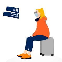 Illustration of a woman wearing face mask sitting on her suitcase waiting for departure isolated on white background Royalty Free Images, Royalty Free Stock Photos, Fresh Image, Minimal Design, Suitcase, Waiting, Illustrations, Woman, Face