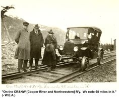 Copper River & Northwestern Railway Model T Ford near Cordova, Alaska Alaskan Railroad, Cordova Alaska, Southern Rail, Rail Car, Model Trains, Locomotive, Motor Car, Antique Cars, Copper