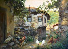 A busy lane Art by Bozidar Chatarski House Landscape, City Landscape, Landscape Paintings, Monet, Gauguin, Chicken Painting, Mary Cassatt, Cottage Art, Acrylic Painting Techniques