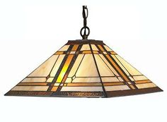 Lamp handcraft Stained Glass Tiffany Style Mission 2-light Hanging Lamp