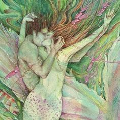 THE Mermaid and The Sailor Mermaid Art Print by redwhisper on Etsy, $32.00