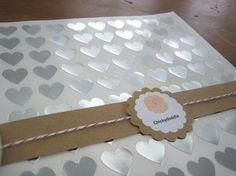 108 Silver Heart Stickers, Silver Foil Heart Seals - 3/4 x 3/4