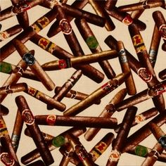 Cotton Fabric - Novelty Fabric - Man Cave Cigar Toss Cigars on Cream|4my3boyz Fabulous Fabrics by the Fat Quarter and More